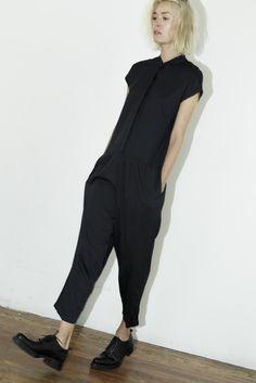Black Crane Charcoal Jumpsuit