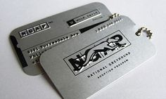 Dog tag business cards would be great for the writers focusing on the military romance novels or romantic suspense...