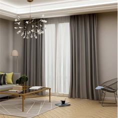 Modern Grey Blackout Curtain Solid Color Silk Imitation Curtain Living Room Bedroom Fabric(One Panel) room decor curtains Living Room Grey, Living Room Modern, Living Room Bedroom, Living Room Designs, Grey Room, Living Room Colors, Living Room Sets, Small Living, Living Room Decor Curtains