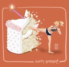 (¯`'•.¸(♥)¸.•'´¯) Happy Birthday !!!  (¯`'•.¸(♥)¸.•'´¯) kung fu cake kick  - exercise birthday wish