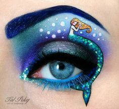 Smoky eyes and winged eyeliner don't stand a chance against this stunning eye art. From cats and movie scenes to food and depictions of nature, eye shadow art has become a beautiful way to show off what inspires you. Mermaid Eye Makeup, Mermaid Eyes, Creative Eye Makeup, Eye Makeup Art, Makeup Artistry, Hair Makeup, Eyeshadow Makeup, Makeup Brushes, Beauty Makeup