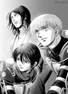 I HATE the way Eren looks after time skip but I kinda like Mikasa's look. LOVE Armin's look. Attack On Titan Season, Attack On Titan Eren, Attack On Titan Ships, Attack On Titan Fanart, Armin Snk, Eren And Mikasa, Ereri, Manga Art, Manga Anime
