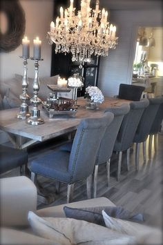 uniqueshomedesign:  gray dining room & c charisma design