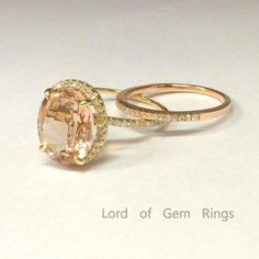 Reserved mugzee2,Oval Morganite Engagement Ring and Two diamond Mathcing Band 14K Yellow Gold - Lord of Gem Rings - 1
