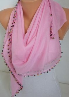 Pink  Turkish Scarf Spring Scarf Cotton Scarf Cowl by fatwoman, #scarves
