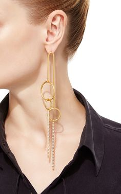 Long Arched Multi Drop Crystal Ring Mobile Earrings by RYAN STORER for Preorder on Moda Operandi