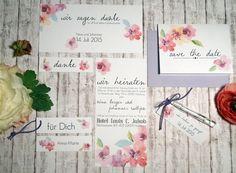 """Hochzeitskarten Serie """"Watercolour Flowers"""" von Kartenliebe Hamburg auf DaWanda.com"""