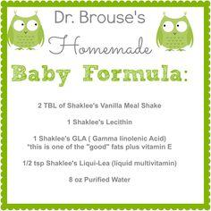 Homemade Baby Formula using Shaklee supplements