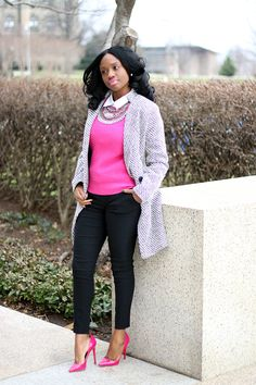 pink fitted sweater + white button up + black pants + pink pumps + statement necklace //Prissysavvy
