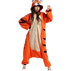 Womens Hooded Onesies Tiger Pajamas Animal Costume Orange (€21) ❤ liked on Polyvore featuring orange