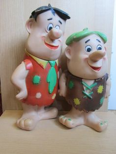 Large Vintage Flintstones 1960 Fred and Barney Figure Dolls Cartoon Character Toys