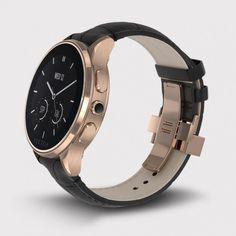 Vector Watch Luna - Roze Altın Çelik Kasa ve Siyah Kroko Deri Kordon Akıllı Kol Saati