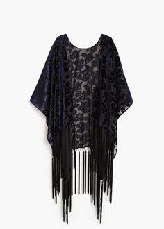 FRINGED VELVET PONCHO #style #fashion #trend #onlineshop #shoptagr