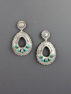 Teardrop Turquoise Pueblo Earrings