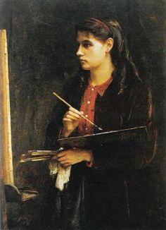 Edma Morisot, Portrait de Berthe Morisot peignant (vers 1865)