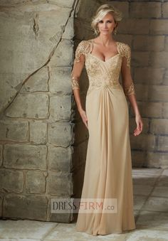 2015 A-line Modest Sweetheart 3/4 Sleeves Beading and Applique Floor-length Chiffon Groom Mother Gown Online UK