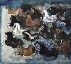 Wild horses by Józef Wilkoń. Mixed technique.
