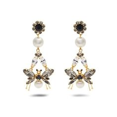 Erdem Crystal-embellished insect-drop clip-on earrings