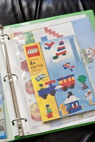 Store all the Lego manuals (And HOT WHEELS mounting templates!) in one binder so you have them at your fingertips (plus find a bunch of other great Lego storage ideas in the link under the photo). Lego Storage, Kids Storage, Storage Ideas, Creative Storage, Small Storage, Storage Solutions, Lego Kits, Kids Room Organization, Organization Hacks