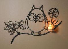 wrought iron owl sconce