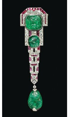Emerald Jewelry Art Deco Carved Emerald, Ruby, and Diamond Pendant Brooch, Chaumet, Paris by nadine What do you Art Deco Schmuck, Bijoux Art Nouveau, Schmuck Design, Art Deco Jewelry, Fine Jewelry, Jewelry Design, Geek Jewelry, Jewelry Ideas, Bracelet Chanel