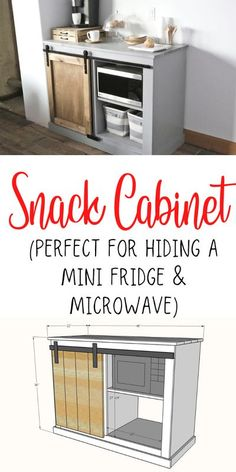 This barn door cabinet holds a mini fridge and microwave! It's perfect for dorm rooms, guest rooms, rec rooms, airbnbs, lobbies, or break rooms! Free plans by ANA-WHITE.com #anawhite #diy #snackcabinet #furniture #woodworking