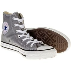 Converse All Star Hi Top Boots (Dolphin Grey) ($76) ❤ liked on Polyvore featuring shoes, sneakers, converse, grey high top shoes, hi tops, high top shoes, grey shoes and gray shoes