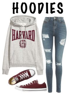 """""""harvard"""" by downeastgirl88 ❤ liked on Polyvore featuring Topshop, Converse, Hoodies, contestentry, polyvorecontest and Harvard"""