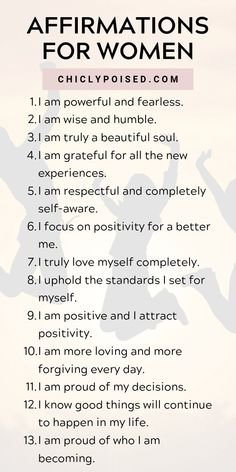 Positive Affirmations For Women   Chiclypoised
