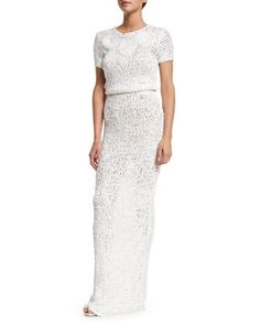 Short-Sleeve+Round-Neck+Crochet+Gown,+Ivory+by+Zac+Posen+at+Neiman+Marcus.
