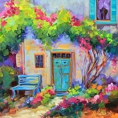 Blue Hearts Cottage - Flower Painting Classes and Workshops by Nancy Medina Art, painting by artist Nancy Medina