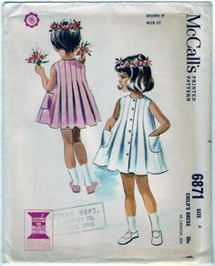 sewing vintage for girls | Vintage Sewing Patterns for Girls / M6871 by Helen Lee, 1963