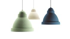 Salago : Fang Studio. Paper mache combined with paper pulping. It reminds us of industrial factory lighting but it also embodies the timeless value of a handmade craft.
