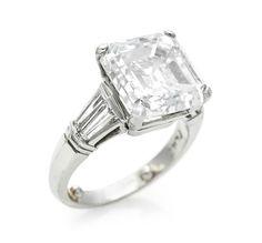 A Platinum and 8.00 carats Diamond Ring.