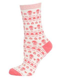 Black and White Skull Heart Socks