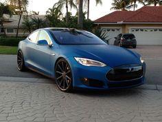 Tesla Model S with a vinyl wrap #Tesla www.FB.com/DevinHunterBiz: