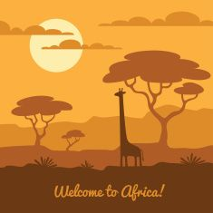 Africa landscape illustration with cute giraffe silhouette and african trees. Can be used for touristic or safari banner, poster design Art And Illustration, Giraffe Silhouette, African Tree, Desert Art, Africa Art, Free Vector Art, Cartoon Drawings, Landscape Art, Retro