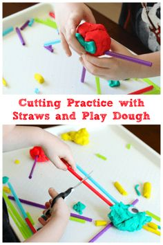 Who knew that cutting straws and play dough with scissors could be so fun? My son spent a long time playing and developing fine motor skills with this simple activity!