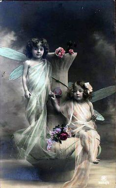 Vintage Postcard ~ Fairy Girls