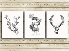 Deer family Decorative Art Print Gift for Dad Teen boy Rustic Wall Hanging Deer head Animal antlers Hunting lodge Wall decor Stag portrait. $27.00, via Etsy.