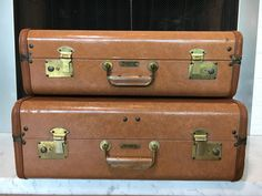 Vintage Luggage Thunderbird Seattle - Set of 2 Brown Faux Leather by YesterdayFoundDotCom on Etsy