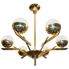 Six Arms Italian Mid Century Chandelier | From a unique collection of antique and modern chandeliers and pendants  at http://www.1stdibs.com/furniture/lighting/chandeliers-pendant-lights/