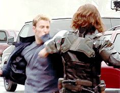 2 of 4 Chris Evans and Sebastian Stan, Captain America: The Winter Soldier, behind the scenes.