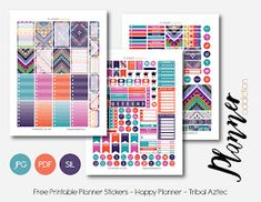 Free Printable Tribal Aztec Weekly Planner Sticker Set {PDF, JPG and Silhouette Files} from Planner Addiction Planner Free, Happy Planner Kit, To Do Planner, Planner Ideas, Planner Diy, Planner Layout, Weekly Planner, Planer Organisation, Organization