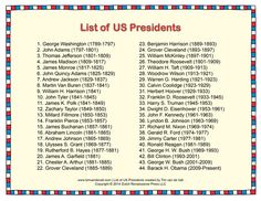 united states presidents list Printable List of Presidents of the United States of America - PDF American President List, American Presidents, American History, President Facts, List Of Us Presidents, Teaching Government, Political Quotes, History Facts, Culture