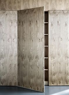 Interesting, looks like pickled plywood. First time I've liked plywood~ Plywood Cabinets, Plywood Walls, Plywood Furniture, Furniture Design, Base Cabinets, Cupboards, Plywood Kitchen, Armoire Garage, Interior Architecture