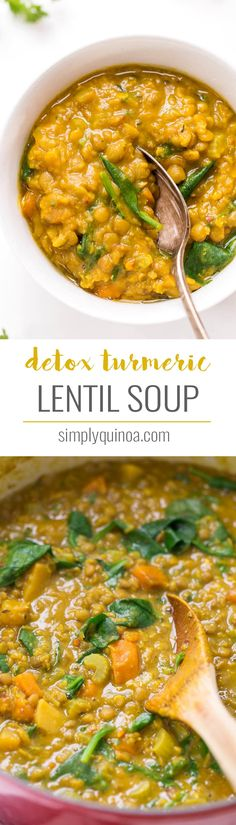 This TURMERIC Lentil Soup is a simple, healthy and totally delicious winter meal that also supports your body's natural detoxification system! #turmeric #detox #lentils #soup