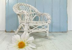 Vintage White Woven Wood & Wicker Rocker  Shabby by DivineOrders, $17.00