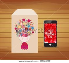 Valentines day card with floral background