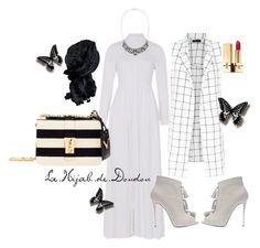 """""""Black and White Hijab Outfit"""" by le-hijab-de-doudou ❤ liked on Polyvore featuring canvas, Accessorize, Giuseppe Zanotti and Valentino"""